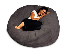 gray bean bag with person on it